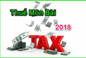 Mức thuế môn bài mới nhất năm 2018